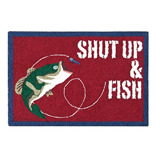 Hooked Home Trout - C&F Home Hooked Gibson Lake Fishing Rug, Red