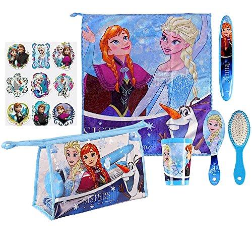 5 tlg. Set - FROZEN - Kulturtasche / Kosmetiktasche - FROZEN / Die Eiskönigin - Motiv: Anna + Elsa - Die Eiskönigin + 9 Frozen Metallic Sticker