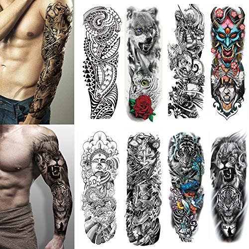 Lion Head Tattoos - Yesallwas 8 Sheets Full Arm Leg Extra Large Temporary Tattoos, Body Art For Men And Women - Wolf,Tiger,Bear,Warrior,Tribal Symbol
