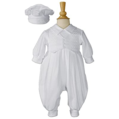 Boys Cotton Infant Christening Baptism Coverall Celebration Set with Vest and Hat