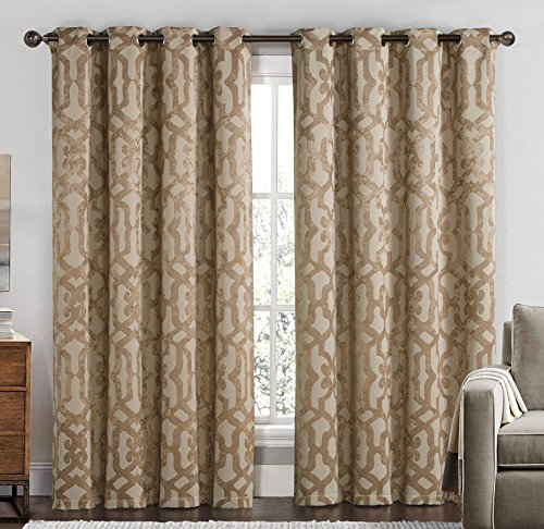2 Blackout Room Darkening Window Curtains 104″ W x 84″ L Embossed Weave Grommet Panel Pair Drapes