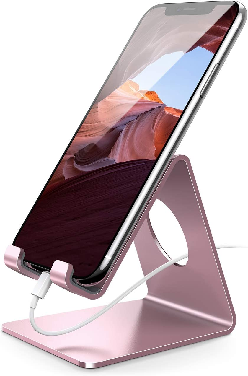 Cell Phone Stand, Lamicall Phone Cradle : Phone Dock, Holder Compatible with Android Smartphones, Phone 11 Pro XS Max XR X 6 6s 7 8 Plus 5 5s 5c, Used for Desk, Table, Night Stand - Rose Gold