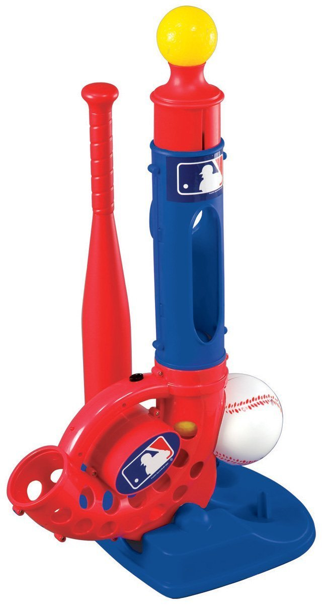 Franklin SpoRights MLB Three Strikes Baseball Pitching Machine Set (Includes 4-Pack Energizer C Batteries) by Franklin Sports