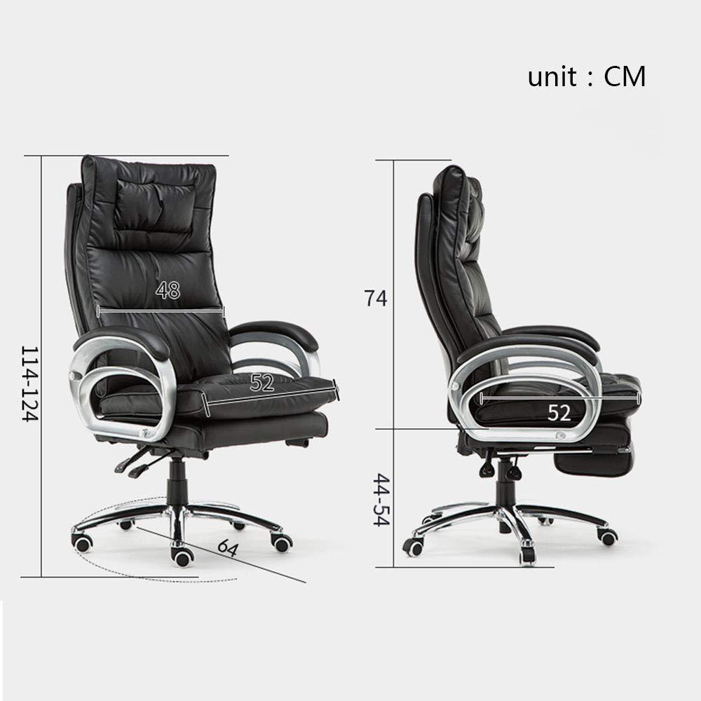 Kontorsstol hög rygg datorstol ergonomiskt hår, PU-läder justerbar höjd verkställande uppgift stol med armstöd och ländrygg stöd, vit Svart