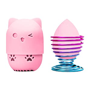 Fercaish Makeup Sponge Container,Beauty Sponge Blender Holder and Soft Makeup Sponge,Cute Kitty Silicone Beauty Blender Travel Carrying Case Set(3Pcs) (Pink)