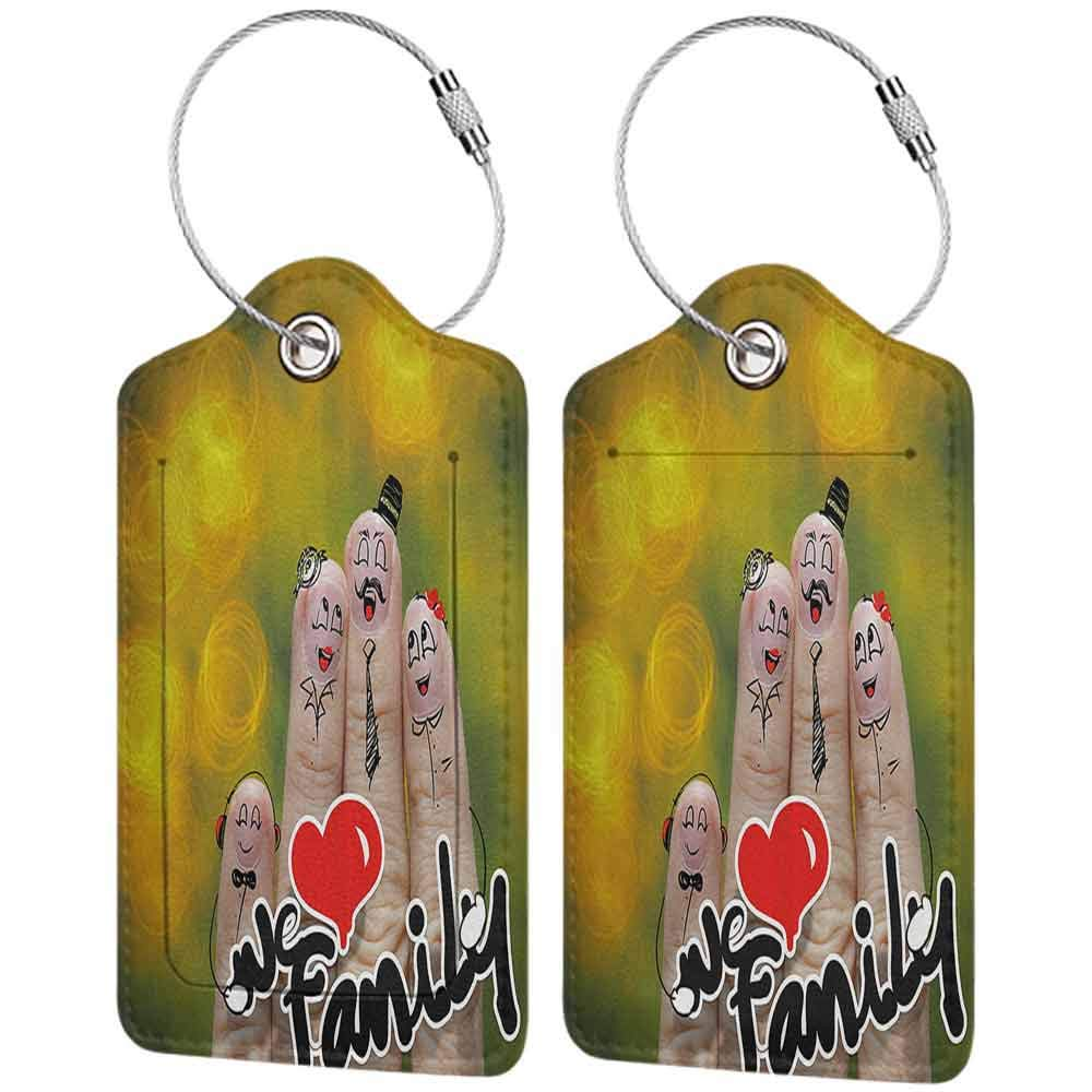 Durable luggage tag Family Happy Finger Family Holding We Love Family Words Hugging Smiling Funny Cute Artwork Unisex Multicolor W2.7 x L4.6