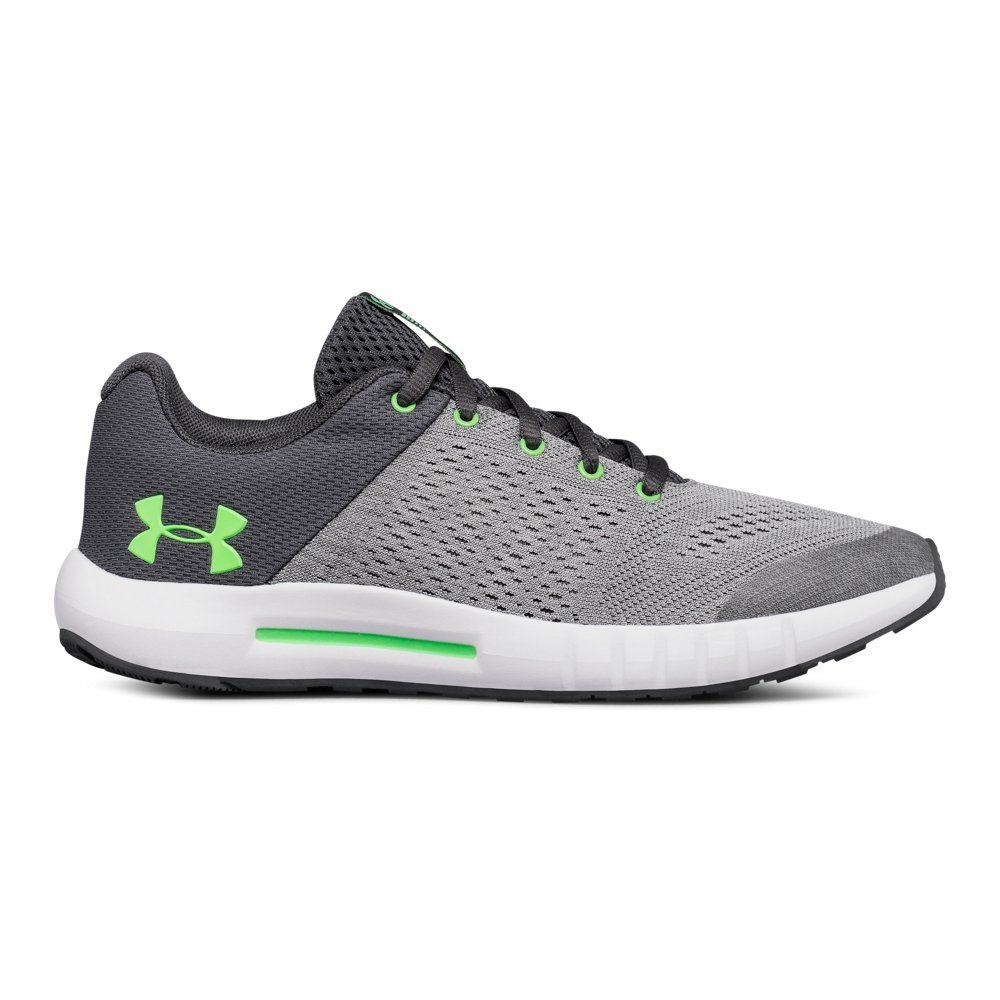 UNDER ARMOUR boys Grade School Pursuit Sneaker, Steel (103)/White, 6