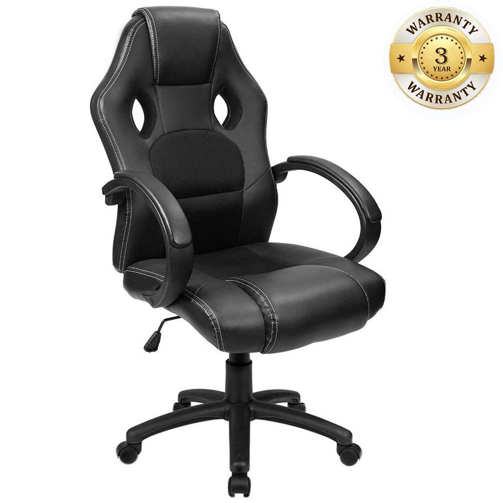 Windaze Office Desk Chairs Ergonomic Swivel Leather High Back Computer Gaming Chair Racing Style with Headrest Extra Wide Black by windaze