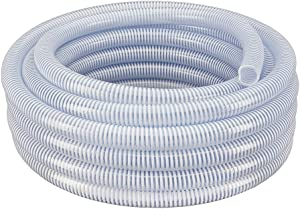 """TEKTUBE Flexible PVC Clear with White Helix Suction and Discharge Hose (2"""" Dia x 25 ft)"""