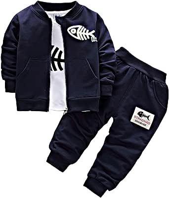 BINIDUCKLING Bebé Abrigo de niños+Pantalones + Camisas Conjuntos de Ropa para niños Pequeños Conjuntos de 3 Piezas Ocasionales