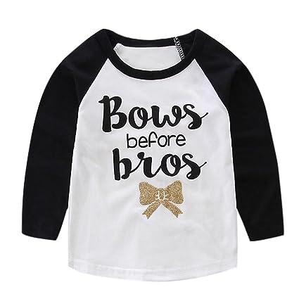 Feixiang Lindo Bebe Niños y niñas Ropa para niños Camiseta de Manga Larga con Letra Impresa