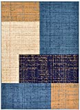 """Conur Collection Squares Geometric Abstract Area Rug Rugs Modern Contemporary Area Rug 2 Color Options (Petrol Blue Navy , 4'11"""" x 6'11"""") Review"""