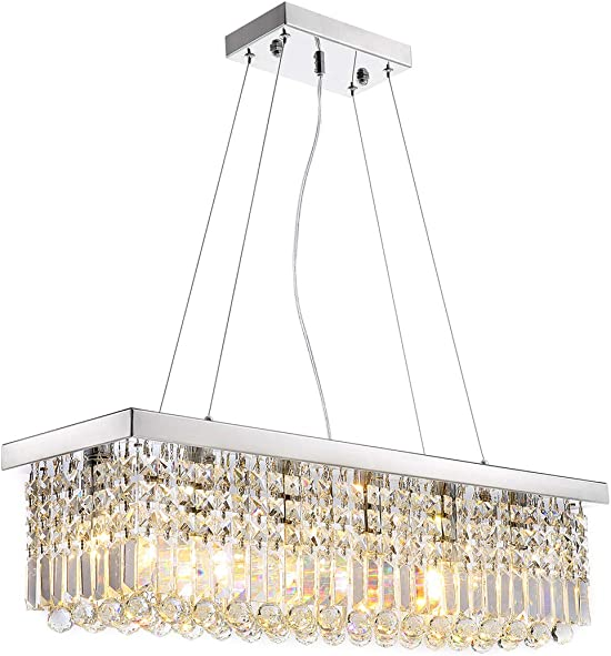 Modern K9 Crystal Pendant Chandelier Lighting Rectangular Ceiling Light Fixture for Dining Room Kitchen Island L31.5 x W9.9 x H8.9