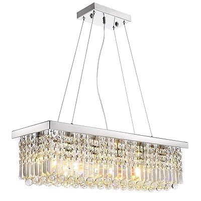 Buy Siljoy Modern K9 Crystal Pendant Chandelier Lighting Rectangular Ceiling Light Fixture For Dining Room Kitchen Island L31 5 X W9 9 X H8 9 Online In Turkey B01myrqoig