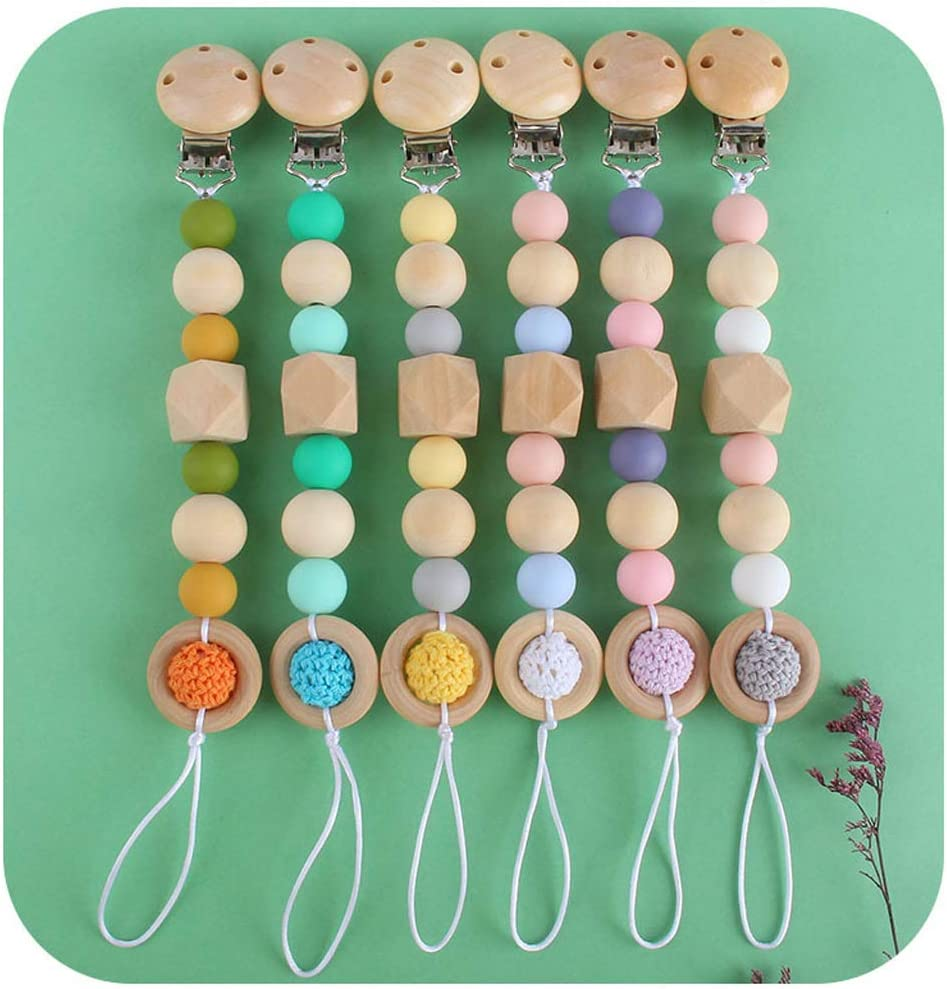 RTYUBV Handmade Dummy Clips Baby Teether Eco-Friendly Pacifier Clip Soother Chain
