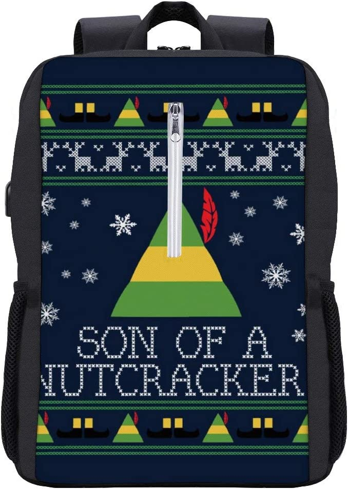 Son of A Nutcracker Elf Quote Christmas Knit Backpack Daypack Bookbag Laptop School Bag with USB Charging Port