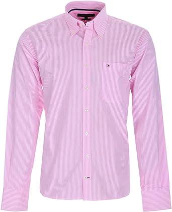 Camisa Tommy Hilfiger hombre Mod Mark rosa y blanco (L): Amazon.es: Ropa y accesorios