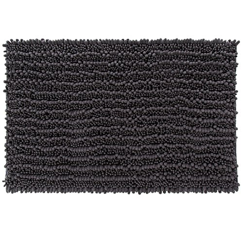 Yimobra Original Luxury Shaggy Bath Mat Large Size 31.5 X 19.8 Inches Super Absorbent Water, Non-Slip, Machine-Washable, Soft and Cozy, Thick Modern for Bathroom, Floor, Dark Gray (Charcoal Bathroom Rug)