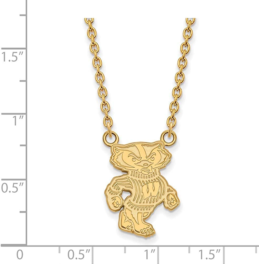Width = 16mm 925 Sterling Silver Yellow Gold-Plated Official University of Wisconsin Large Pendant Necklace Charm Chain 18