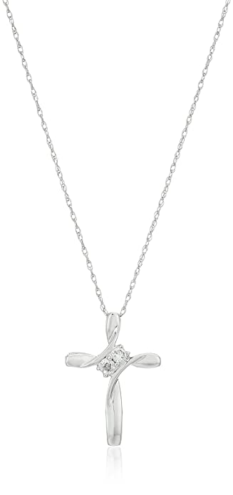 Amazon 10k white gold diamond 2 stone cross pendant necklace 1 10k white gold diamond 2 stone cross pendant necklace 110cttw i j aloadofball Image collections