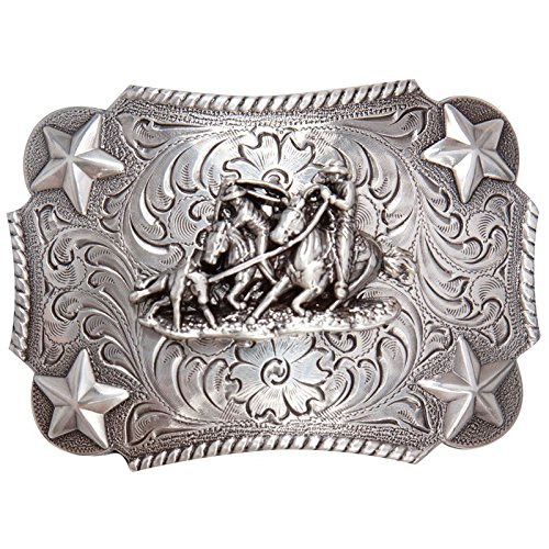 M F Western Products Boys MF Kids Team and Star Buckle Silver