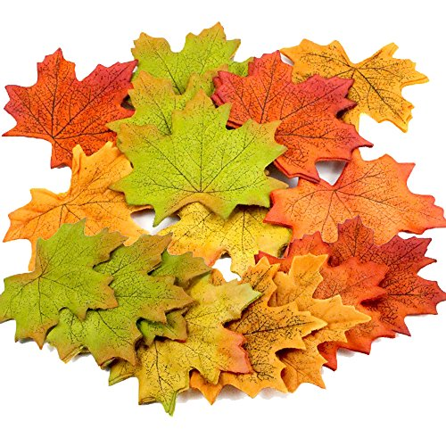 Wady 100Pcs Assorted Artificial Fall Coloured Silk Maple Leaves Table Scatters For Fall Weddings /& Autumn Parties
