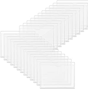 Self-Adhesive Index Card Holder, 50 Pack Clear Plastic Library Card Pockets Label Holder with Top Open for Index Cards, Business Cards and Photos Organization and Protection
