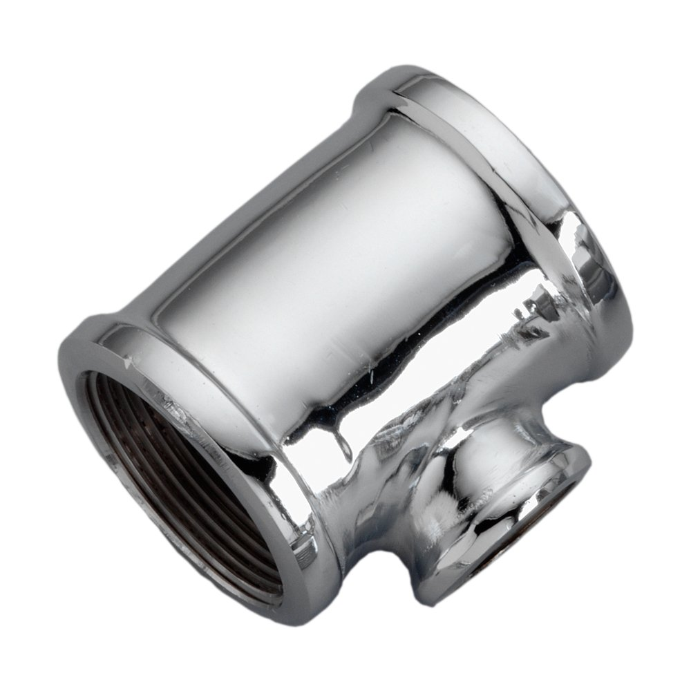 1//2 x 1//2 x 1//4 NPT Female Chrome Plated Brass Pipe Fitting Reducing Tee