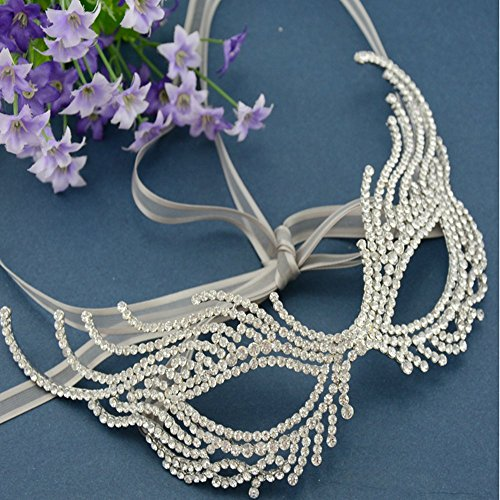 [Bella Bridal-Alloy Rhinestone Bridal Jewelry Evening Party Prom dress accessories Masquerade Mask] (Rhinestone Masquerade Mask)