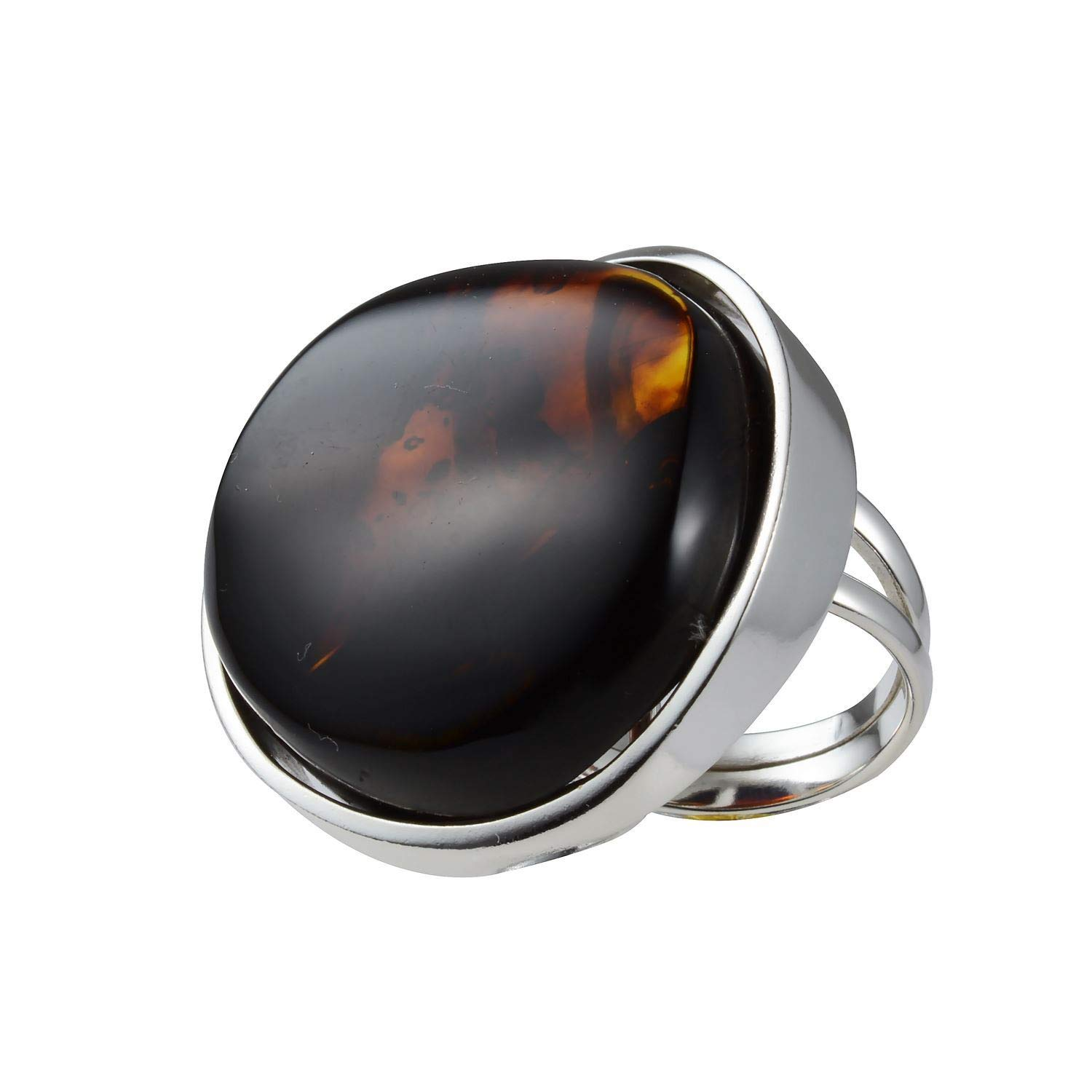 Cherry Amber Sterling Silver Ring