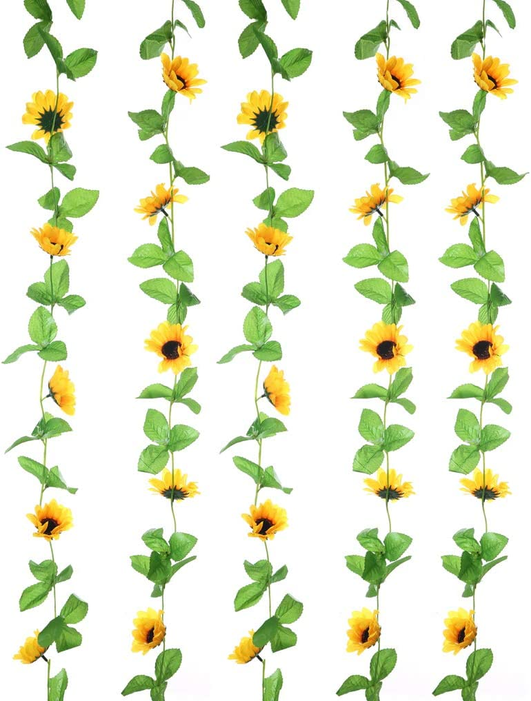 UUPP 2Pcs 7.8FT Artificial Sunflowers Garland Silk Fake Flower Ivy Vines Sunflower Decor for Home Garden Wedding Party Arch