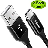 BrexLink USB Certified Type C Cable, USB C to USB A Charger (6.6ft, 2 Pack), Nylon Braided Fast Charging Cord for…