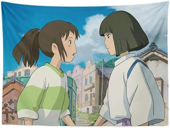 Sjjuan Hayao Miyazaki Cartoon Anime Chihiro Chido Bedside Background Tapestry Living Room Bedroom Decoration Wall Covering Amazon Co Uk Kitchen Home