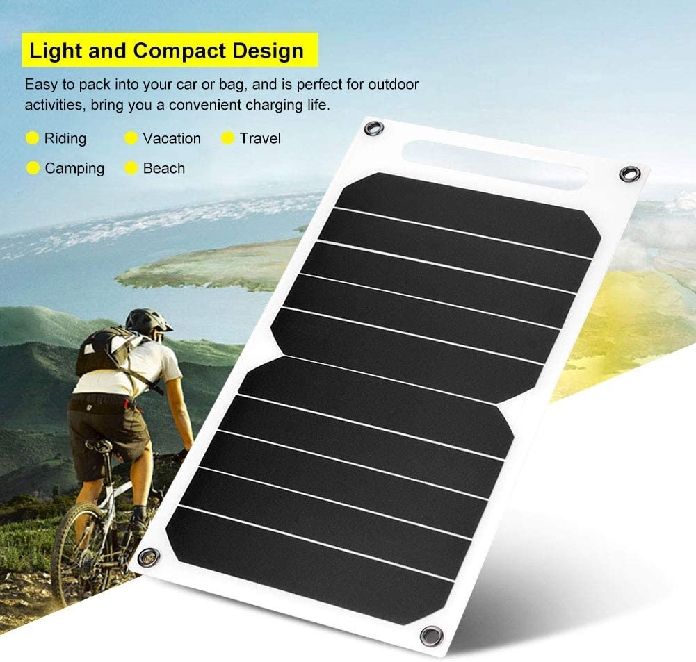 NATRUSS IP62 Waterproof Portable 10W Outdoor USB Solar Panel Mobile Power Charger High Efficiency High Power Paper Shaped Monocrystalline Silicon for Cell Phone