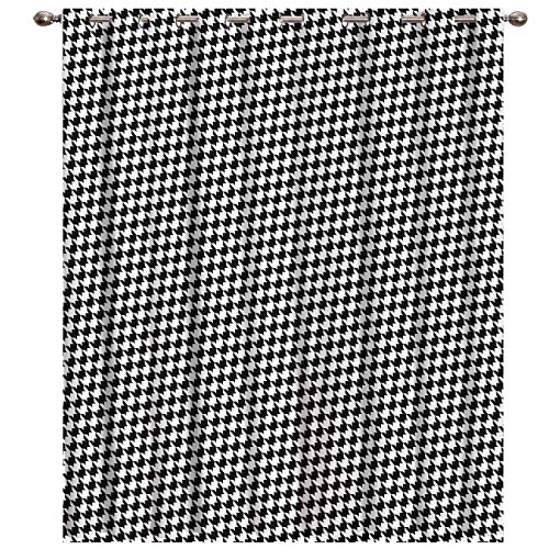 BABE MAPS Blackout Curtains with Sliver Grommet 1 Panel Classic Black and White Houndstooth Pattern Curtain Window Coverings Thermal Insulated Light Blocking Curtains for Living Room 52