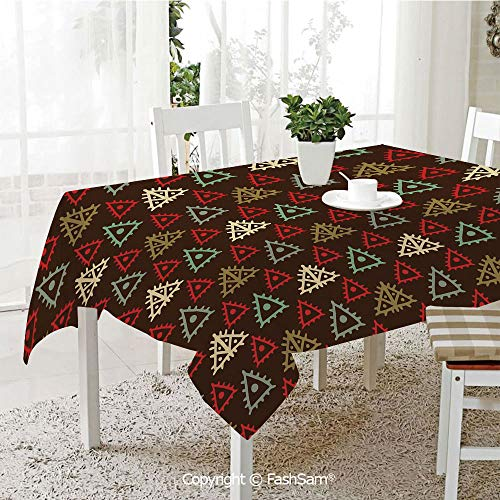 3D Dinner Print Tablecloths Native American Aztec Folk Triangle Pattern Folk Style Funky Boho Tribal Art Print Resistant Table Toppers (W60 xL84)]()