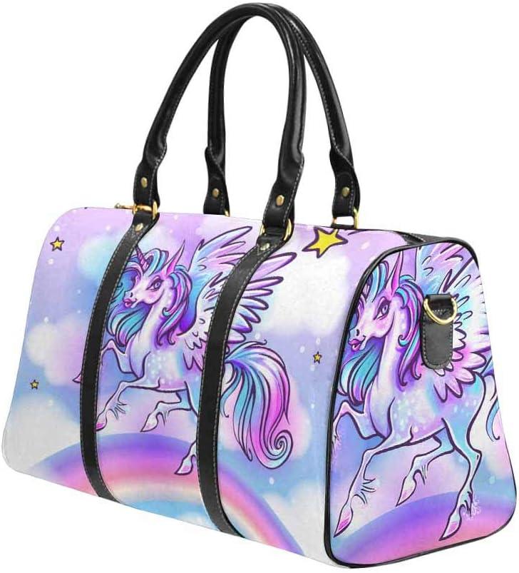 InterestPrint Large Duffel Bag Flight Bag Gym Bag Cute Unicorn