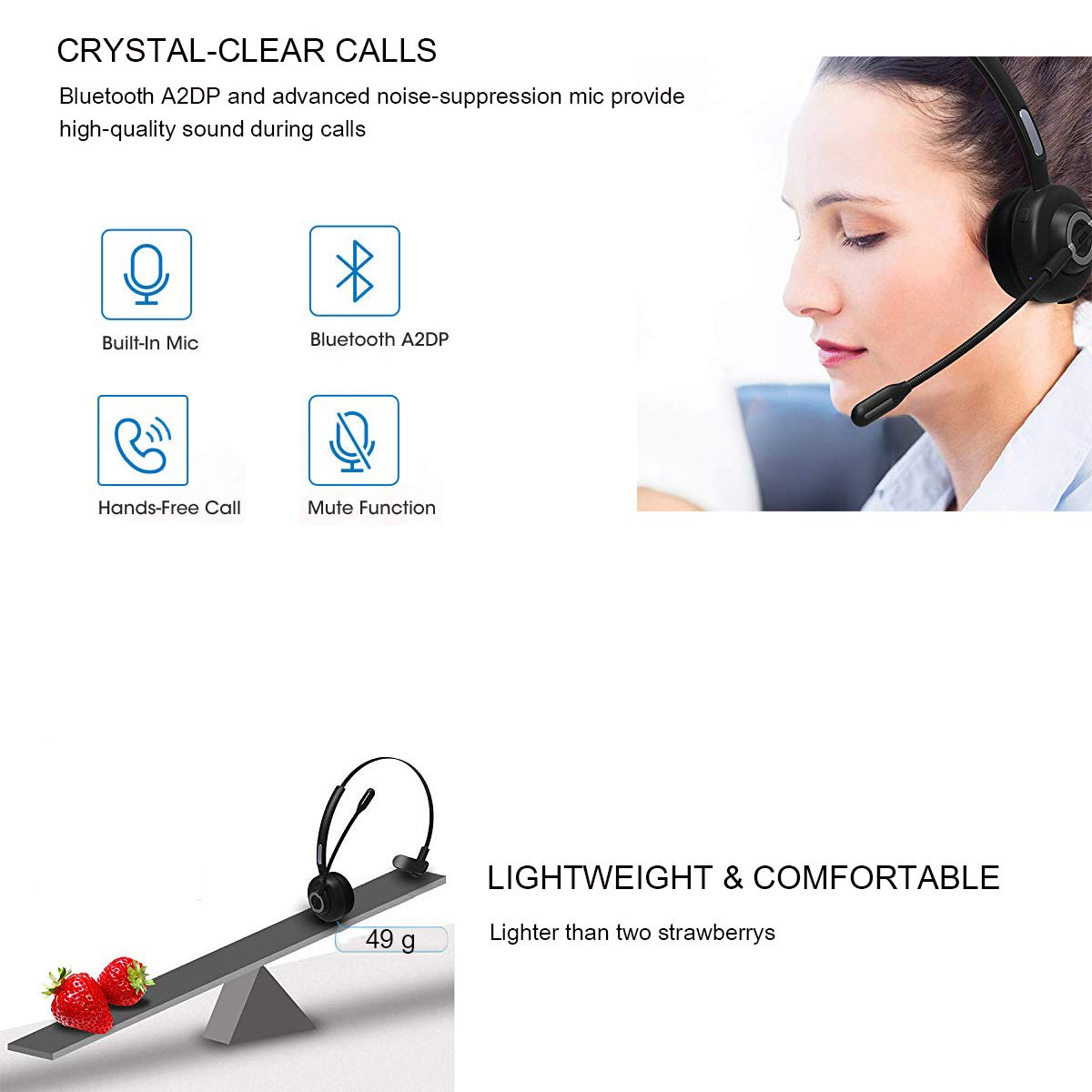 Trucker Bluetooth Headset RAOPINGX Wireless Headset with Microphone Over The Head Headphones with Noise Cancelling Sound On Ear Car Earphones Office Earpiece for Cellphone Call Center Bluetooth V5.0