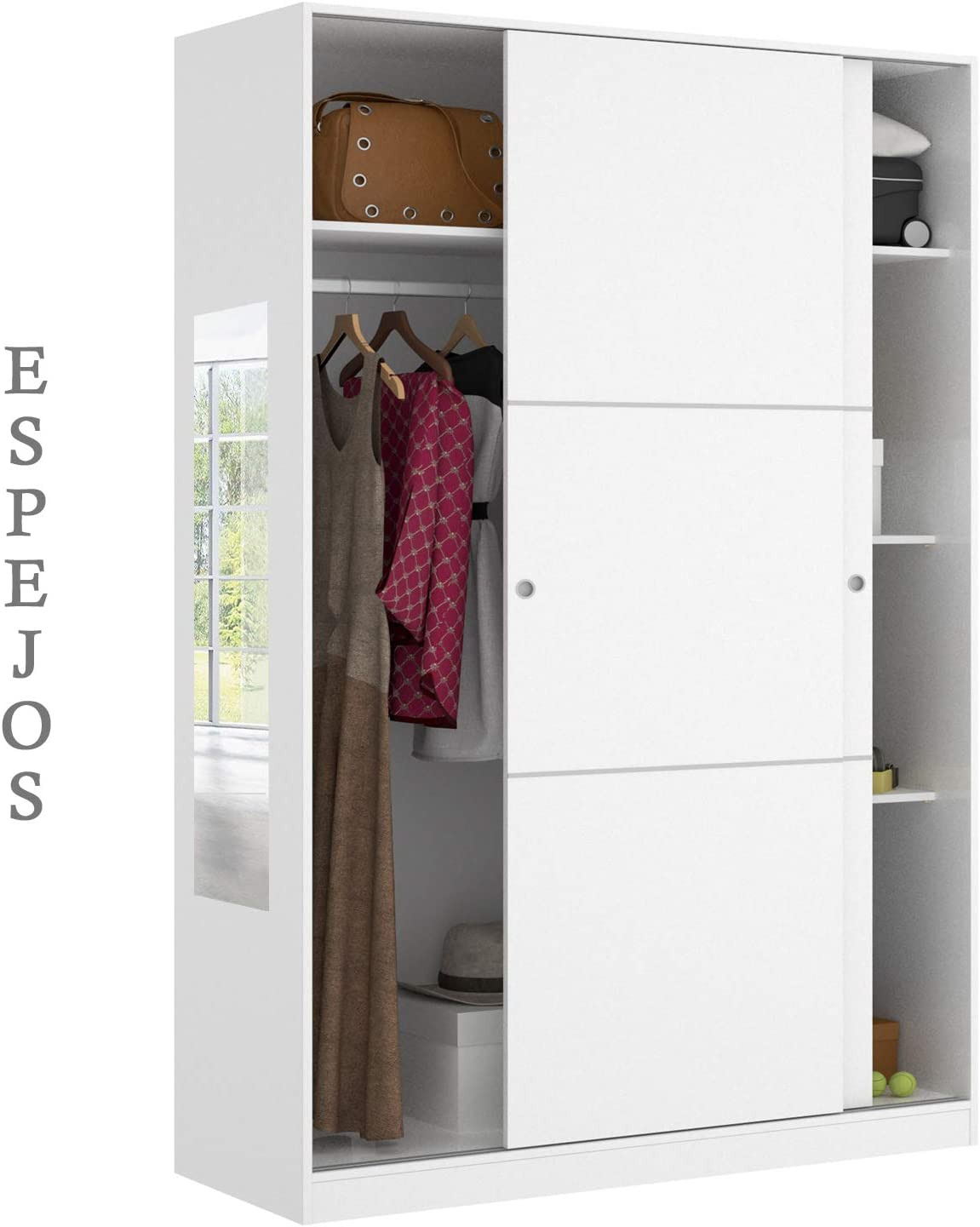 HABITMOBEL Armario Oficina con estantes de 204 x120 Espejos Incluidos: Amazon.es: Hogar