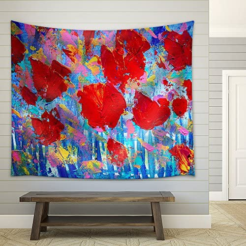 Abstract Red Flowers Painting with Acrylic Colours I Paint This Picture in 2010 Fabric Wall