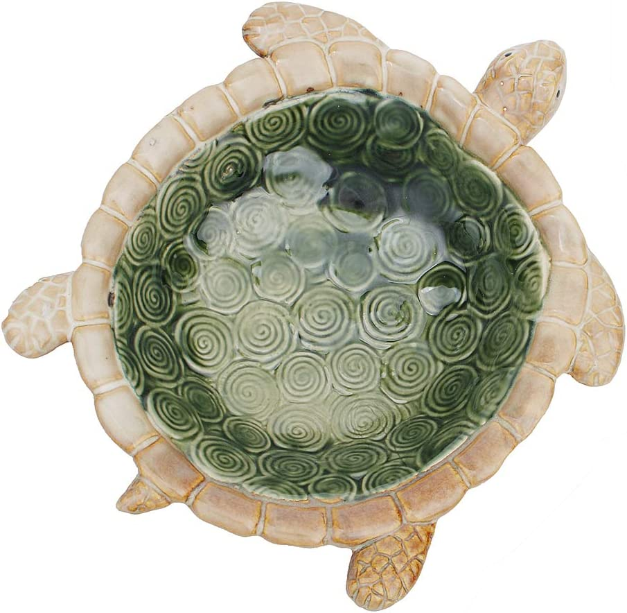 Hophen Green Turtle Ceramic Soap Ring Jewelry Trinket Candy Nut Ashtray Tray Dish Holder Desktop Wedding Home Centerpiece Decoration (Big)