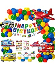 Birthday Party Decoration Set, Happy Birthday Banner Transport Vehicles Foil Balloons Plane Car School Bus Party Decor Supplies,Cake Toppers Cupcake Toppers Customed Sticker for Boys Baby