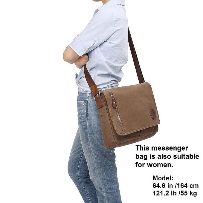 18bdf5e6302a Gibgas Vintage Canvas Messenger Bag Laptop Shoulder Bag Satchel with Laptop  Compartment for Men Women School Work (Brown-14 inch): Amazon.in: Computers  & ...