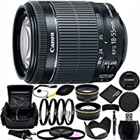 Canon EF-S 18-55mm f/3.5-5.6 IS STM Lens (White Box) with Accessory Kit for EOS 7D Mark II, 7D, 80D, 70D, 60D, 50D, 40D, 30D, 20D, Rebel T6s, T6i, T5i, T4i, SL1, T3i, T6, T5, T3