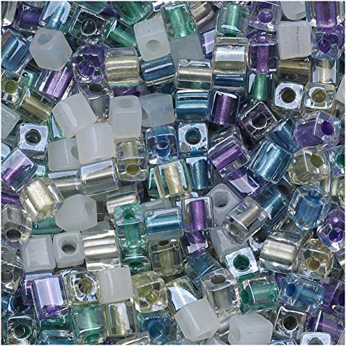 - Miyuki 4mm Glass Cube Beads Color Mix Serenity Greens Purples 10 Grams