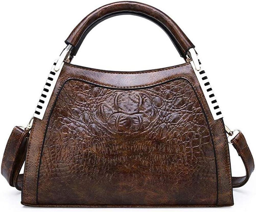 KOON Womens PU Crocodile Embossed Large-Capacity Multifunctional Portable Cross-Body Bag Tote Purse