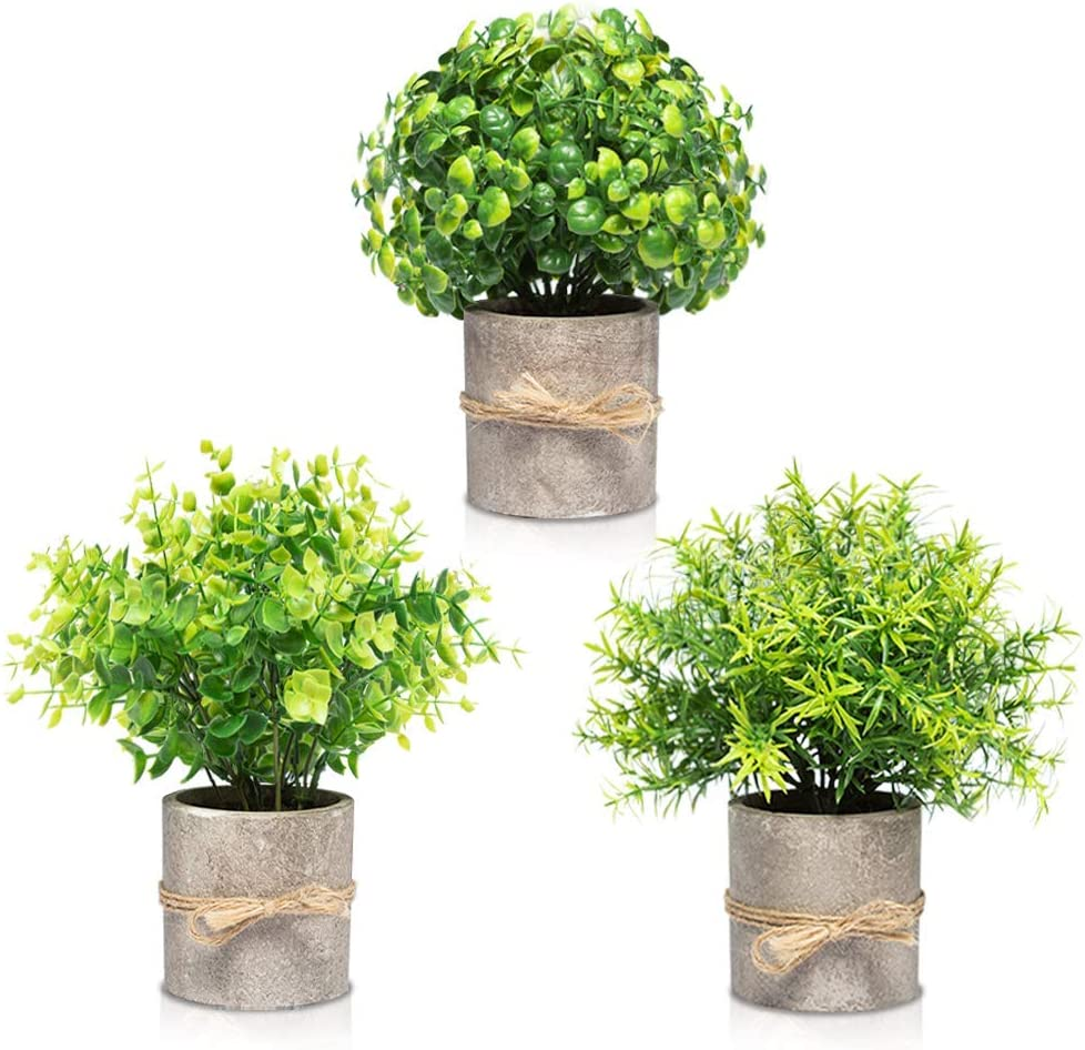 Artificial Plants in Pots for Home Decor Indoor - Office Decor for Women Desk, Desk Plant - Faux Plants Decor Indoor for Office Desk Decor - Set of 3 Faux Desk Plants for Office & Bathroom, Desk Plant