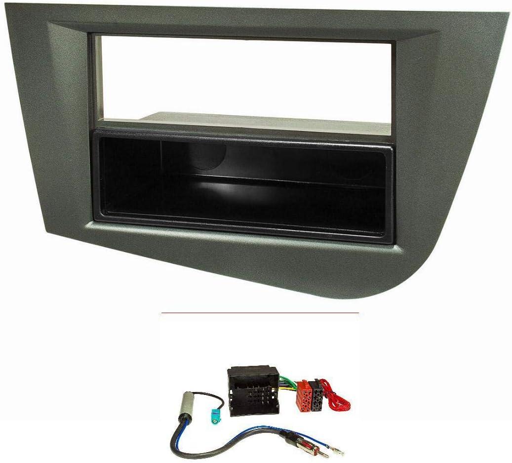 tomzz Audio 2449-012 - Embellecedor de radio para Seat Leon 2 (1P) año de fabricación 2005-2012 gris metálico con adaptador Quadlock ISO, adaptador de ...