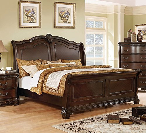 Isidora Cherry Solid Wood Sleigh Cal King Bed by Furniture of America (Carvings California King Bed Wood)