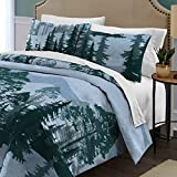 D.I.D. 2 Piece Dark Blue Green Black Forest Tree Themed Comforter Twin Set, Outback Moutintain Silhouette Trees Outdoor Bedding, Nature Hunting Lodge Cabin Wilderness Woods Pattern, Polyester